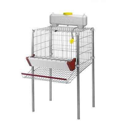 Vista de la jaula para gallinas ponederas con 1 departamento