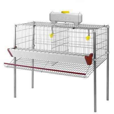 Vista de una jaula para gallinas ponederas: 2 departamentos