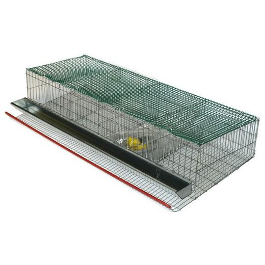 Vista de una jaula para codornices para colgar