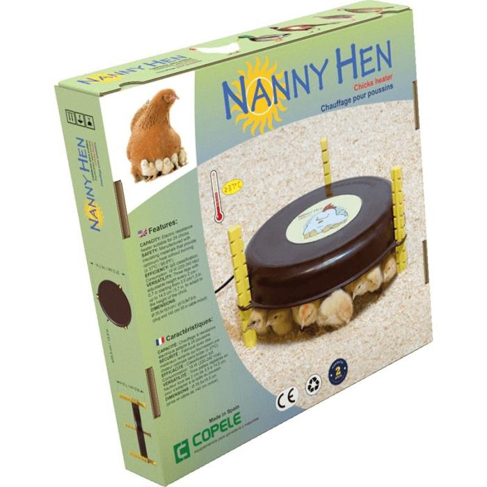paquete con calefactor de pollitos nanny hen